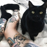 gato preto tatttoo